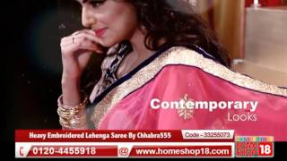 Homeshop18.com - Designer Heavy Embroidered Lehenga Saree By Chhabra555 (Pick Any 1)