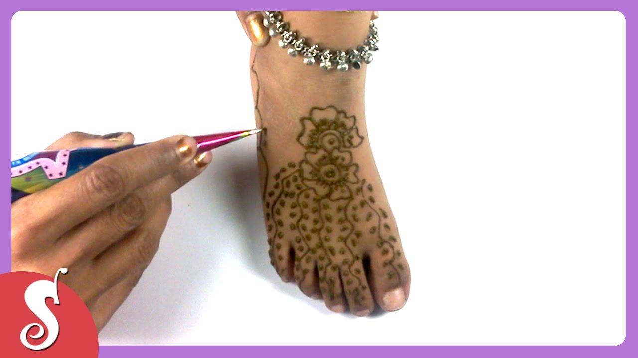 Mehndi Designs For Childrens Leg : Mehndi designs for kids legs youtube