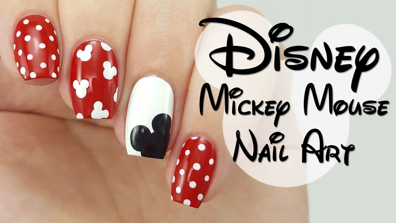 Disney Mickey Mouse Nail Art - Disney Mickey Mouse Nail Art - YouTube