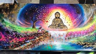 Buddha and The Girl Spray paint art