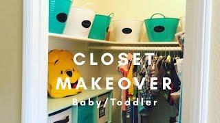 DIY baby's closet makeover / super easy organization with Dollar Tree bins
