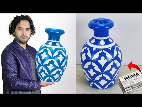 Big size corner flower vase  || Paper Flower Vase || Home decor ideas
