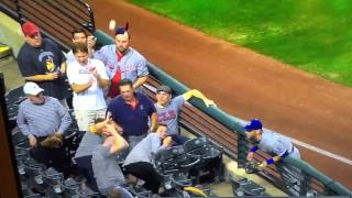 Indians fan takes a baseball to the dome. I nearly die laughing while recording. Literally.