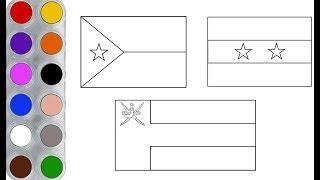 رسم وتلوين اعلام الدول العربية للاطفال (2) / learning Arab countries flag for kids2