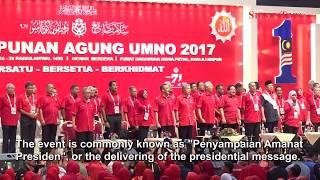 Najib delivers presidential message to Umno delegates