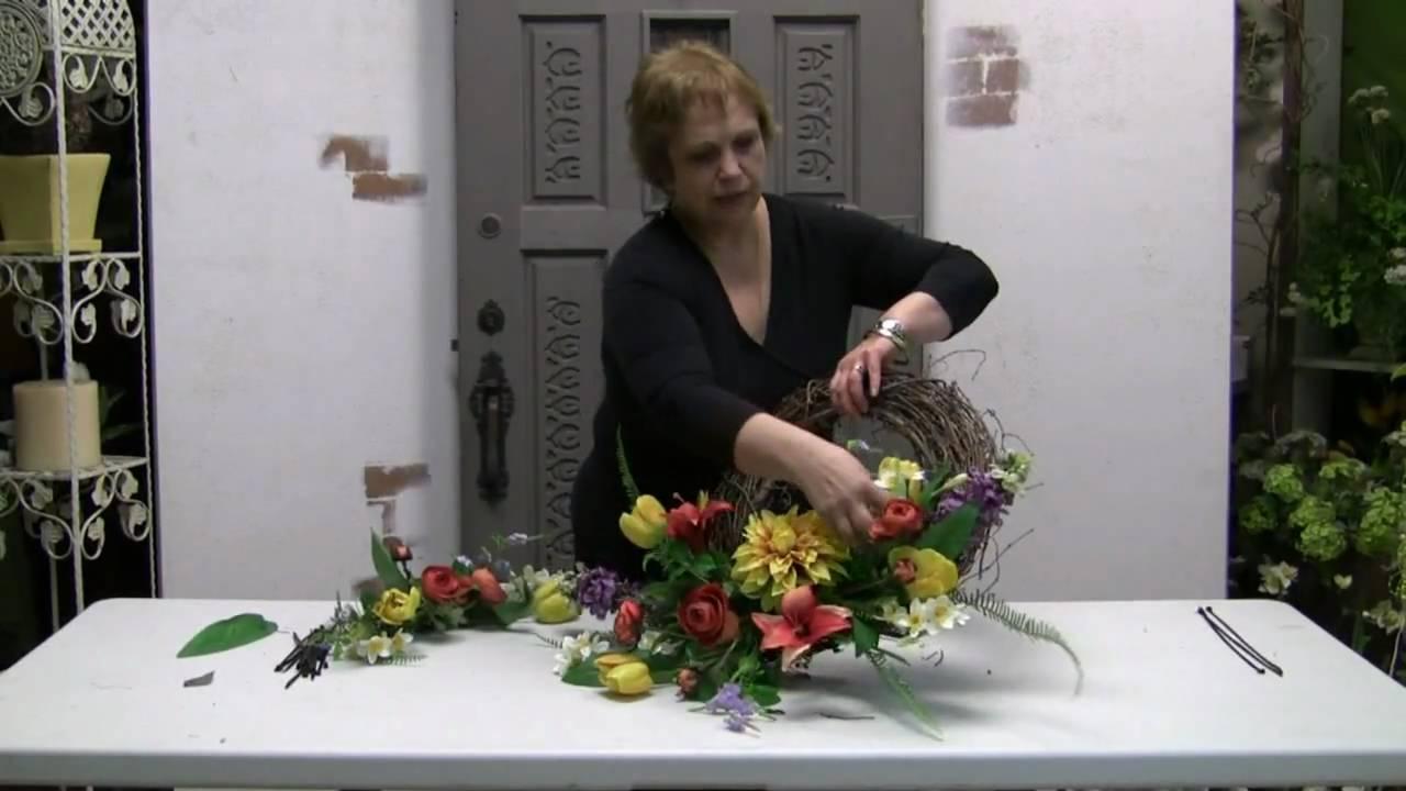 How to make a silk flower door wreath youtube how to make a silk flower door wreath mightylinksfo