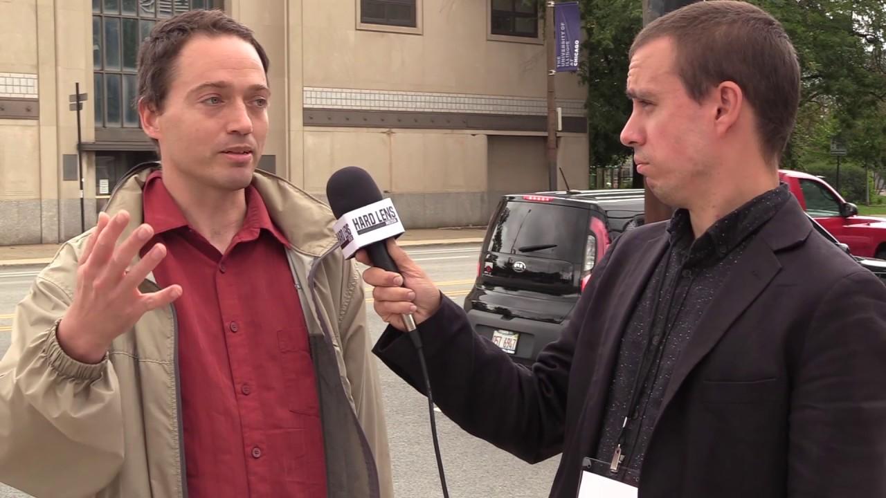 Internationalist Group member Alex speaks to HLM outside DSA event