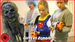 Supergirl vs Wonder Woman vs Tiny Rick Monster Zombies NERF WAR: GIRLS RULE real life SuperHero Kids