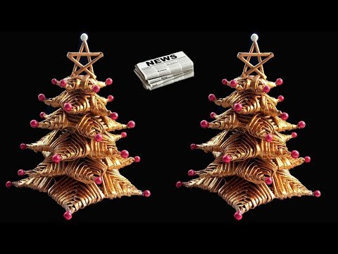 How to make Table top Christmas Tree from Newspaper | DIY Christmas Crafts