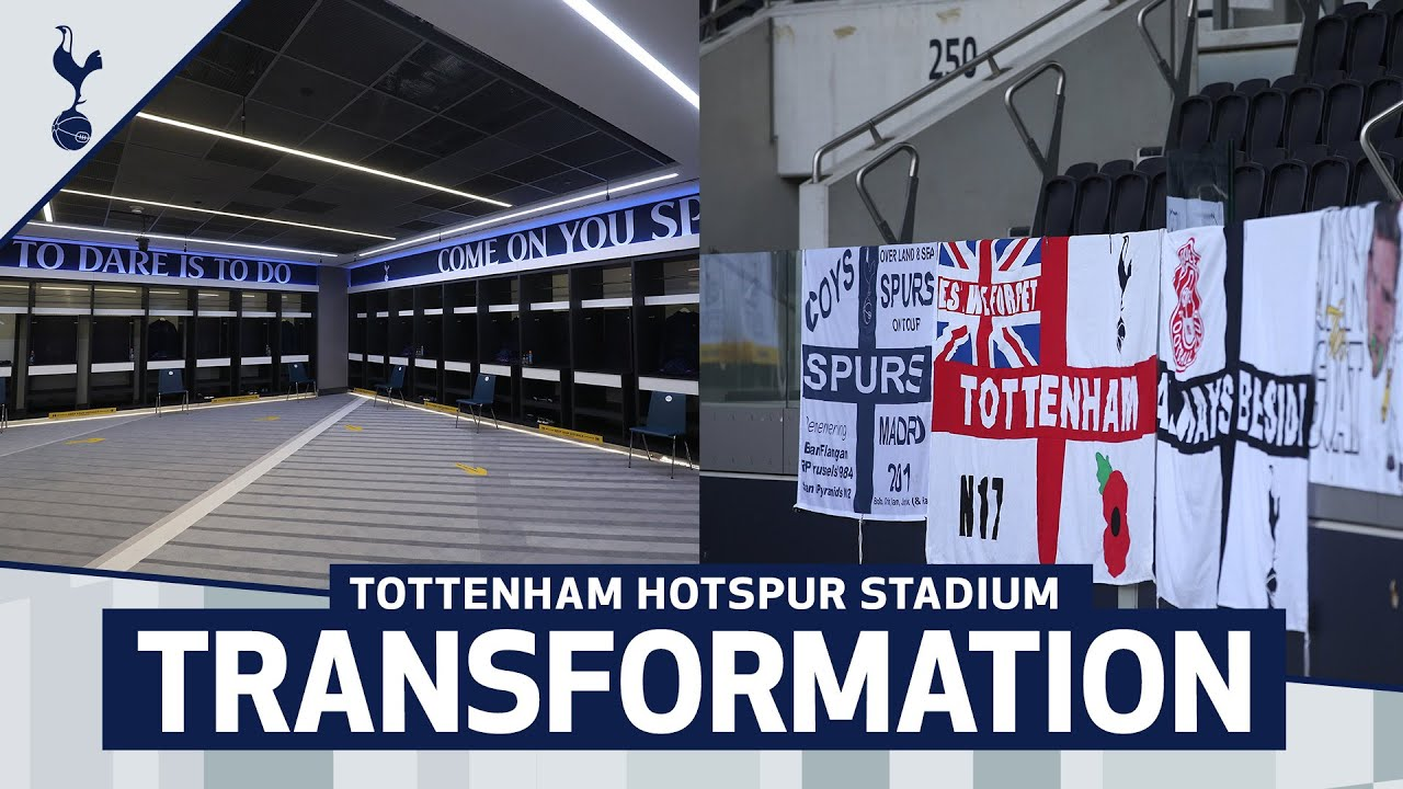 Tottenham Hotspur Stadium Transformation Dressing Room Bowl Wrap Supporters Flags Youtube