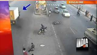 CCTV Footage Of Bangalore Businessman Surviving A Motorbike Crash