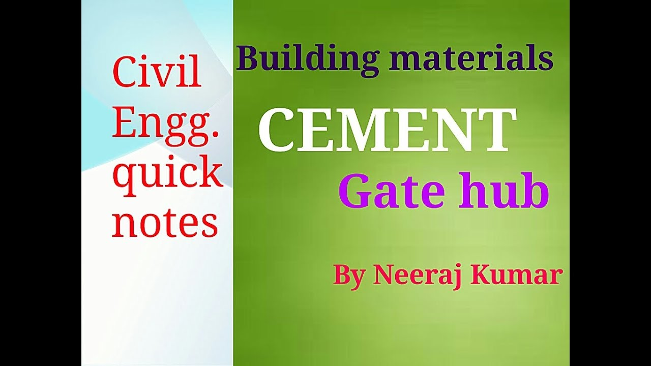 Introduction of Cement in hindi unit -2 lec-1 | GATE ESE SSCJE PSU