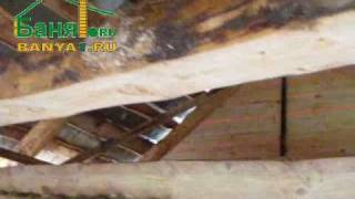 banya1.ru: сруб бани 4х4(Сруб бани из бревна 4х4 метра, строительство на мох., 2010-11-30T08:54:14.000Z)