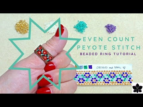 Even Count Peyote Stitch Floral Vine Ring | Beaded Jewelry Making Tutorial | Delica Beads