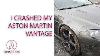 I crashed my grey Aston Martin V8 Vantage