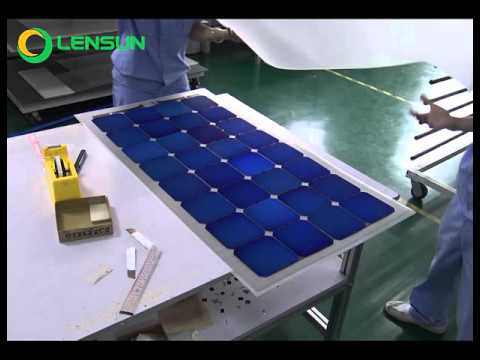 Producing Lensun 100W Flexible Solar Panels -- Laminating Solar Cells, ETFE on the board