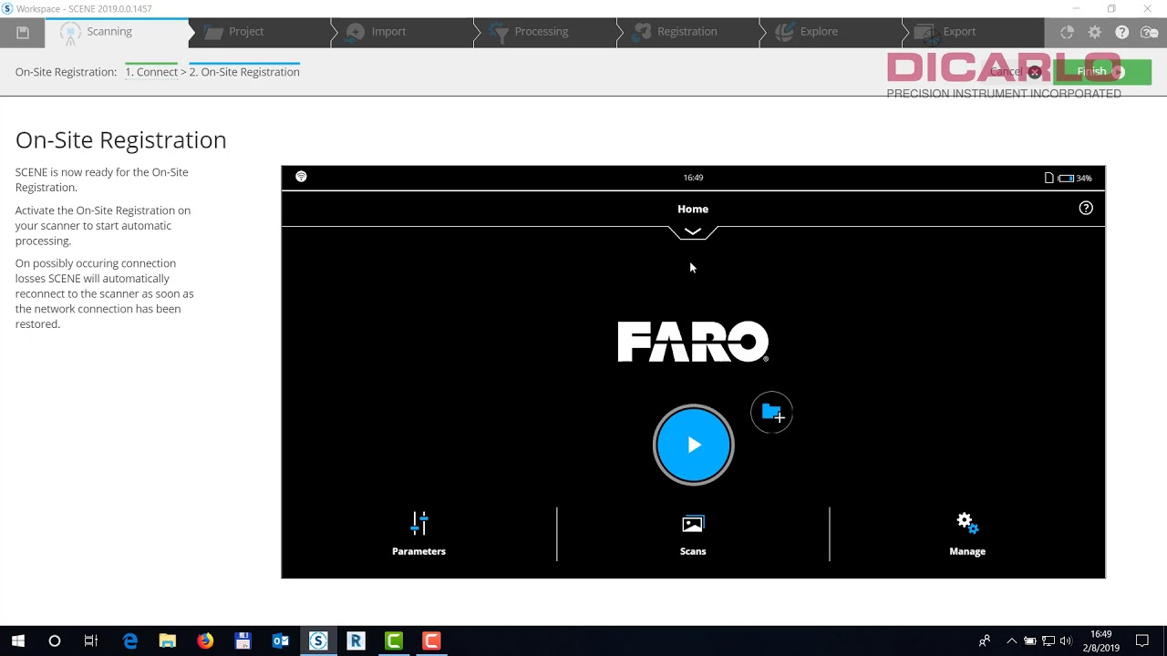 FARO SCENE how to connect for on site registration/compensation