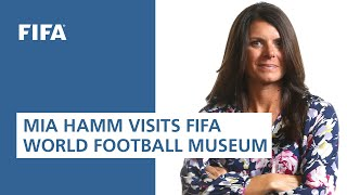 Legend Mia Hamm visits the FIFA World Football Museum in Paris