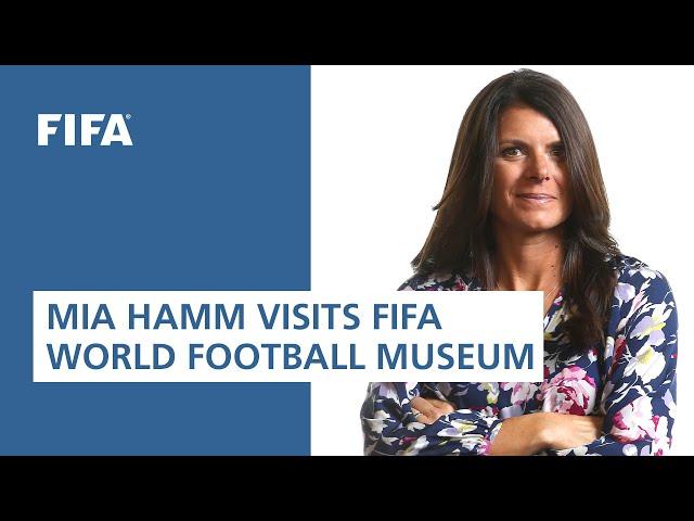 Legend Mia Hamm visits the FIFA World Football Museum in Paris