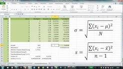 Excel - VAR.P & STABW.N vs. VAR.S & STABW.S - Varianzen und Standardabweichung