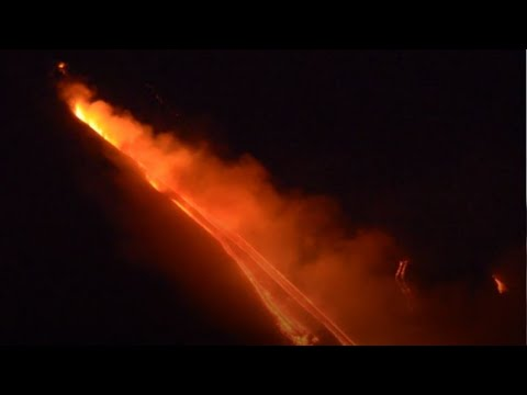 Watch: Smoke and lava flows from erupting Mt Etna volcano