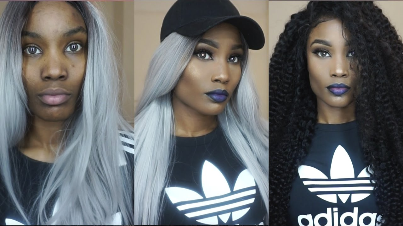 Grey Hair Dark Eyes Bold Blue Lips Dark Skin Grwm 2 Looks In 1