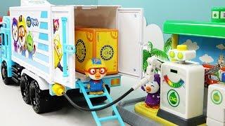 뽀로로 택배차 트럭과 타요버스 주유소 습격사건 장난감 놀이  Tayo the little Bus Gas Station and Toy carrier car delivery truck