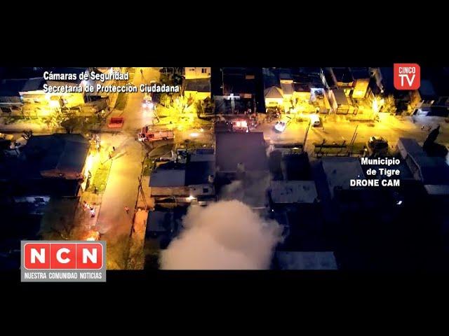 CINCO TV - El Sistema de Protección Ciudadana de Tigre controló un feroz incendio en un aserradero