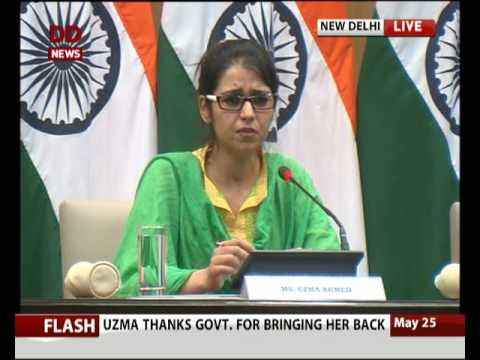 EAM Sushma Swaraj welcomes Indian National Uzma who returned from Pak Today