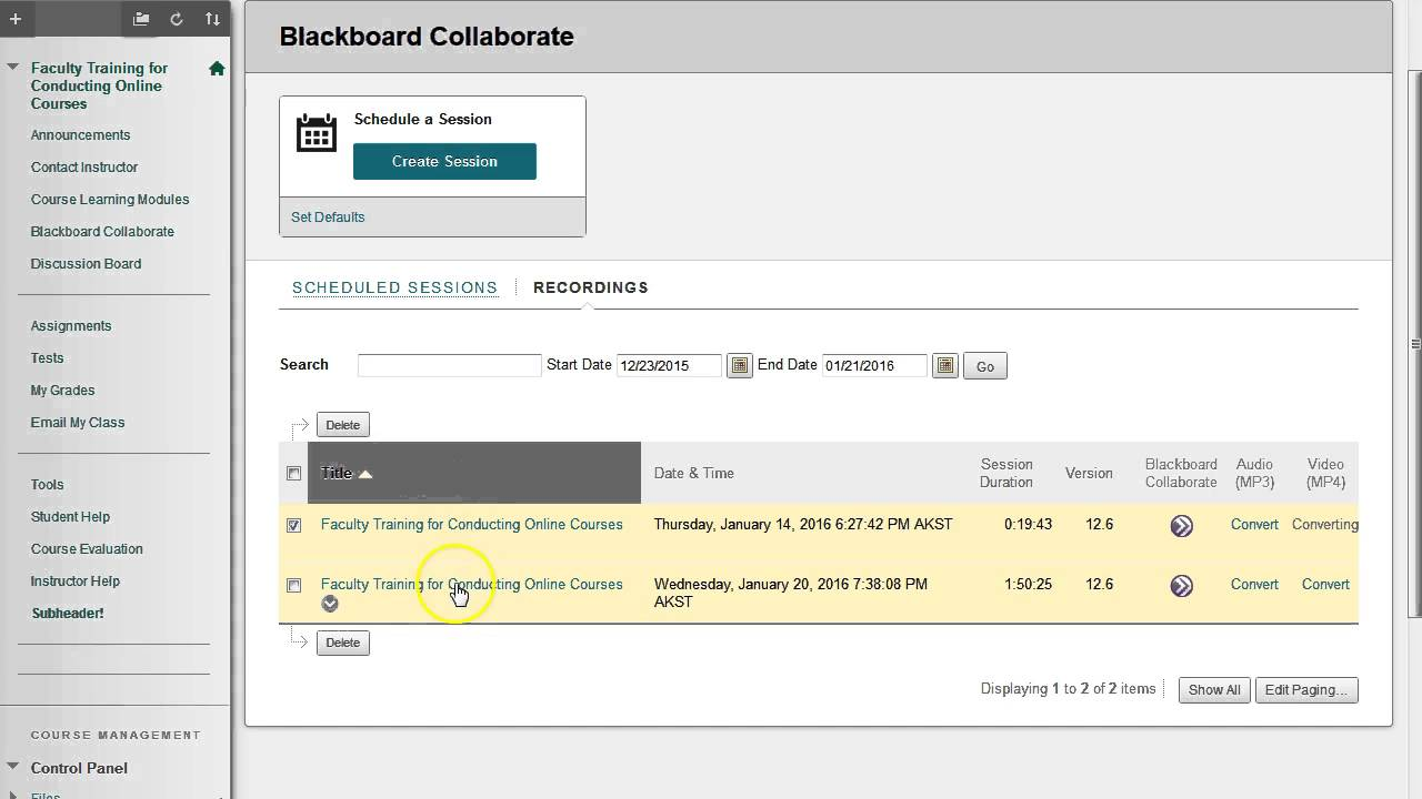 record view convert download blackboard collaborate sessions