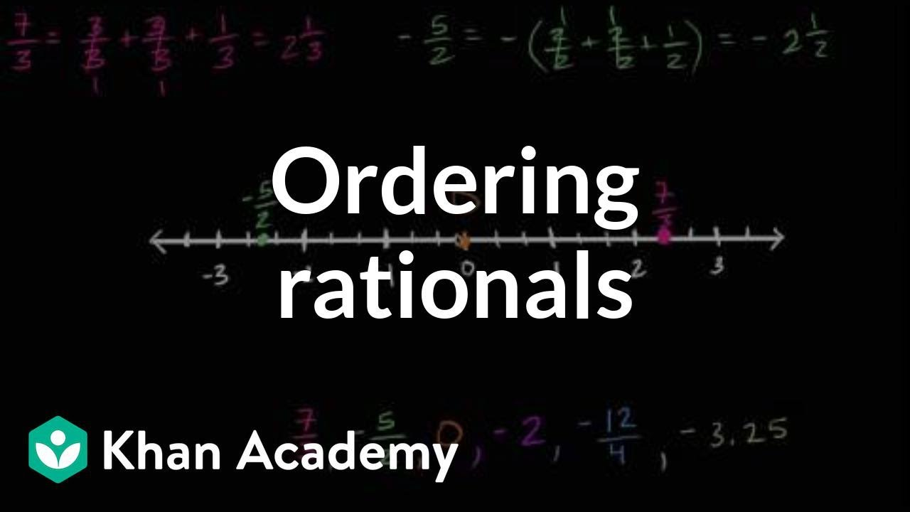 medium resolution of Ordering rational numbers (video)   Khan Academy