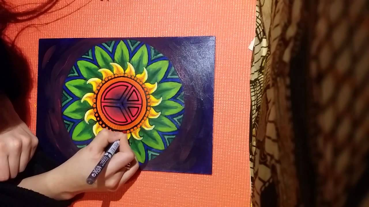 How to make a mandala with acrylics youtube for How paint on canvas