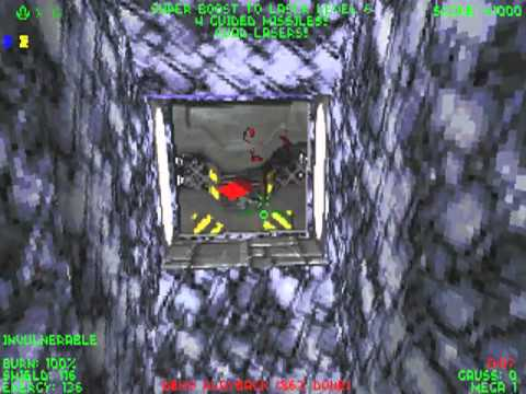 Descent II, Level 14, insane difficulty, cold start, no death, full rescue, 132HP at exit