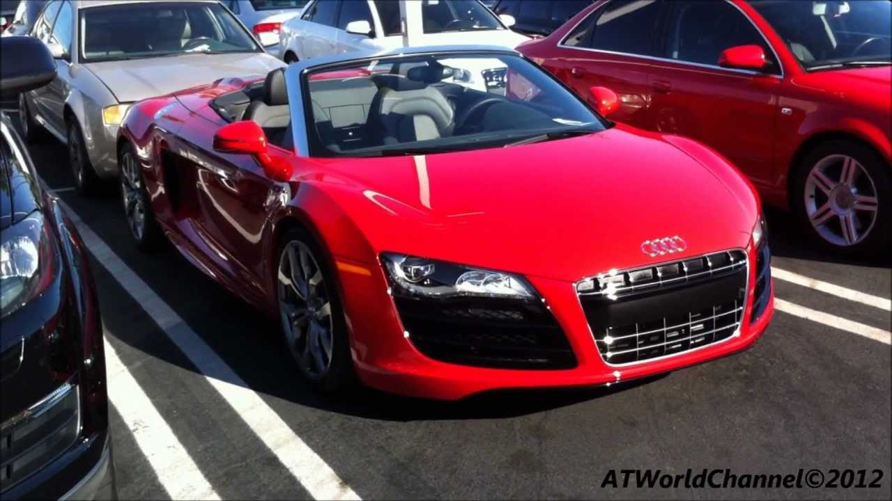 red audi r8 spyder walkaround and dashboard view - youtube