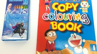 Doraemon Coloring book with Frozen colours for Kids play and learn