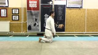 shikko ushiro (knee walking backwards) [TUTORIAL] Aikido empty hand basic technique: