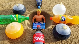 experiment: Stretch Armstrong VS Underground Coca Cola and Mentos VS Lava