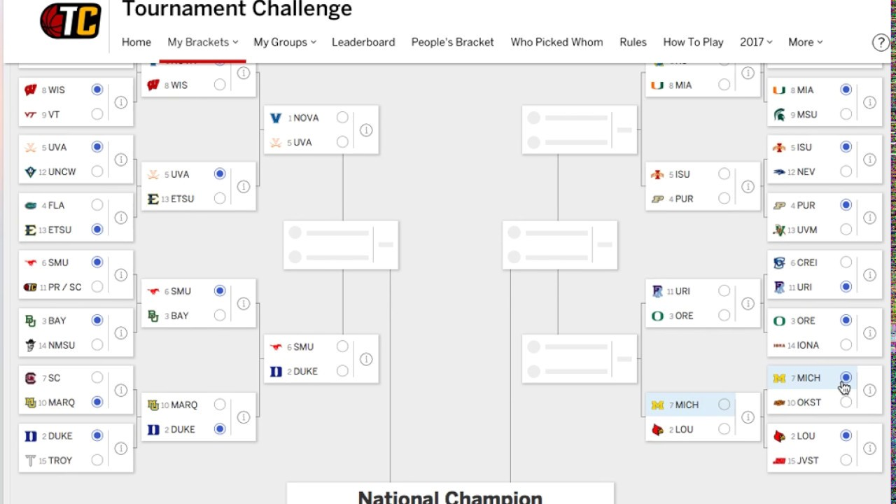 FILLING OUT MY MARCH MADNESS BRACKET 2017 - YouTube