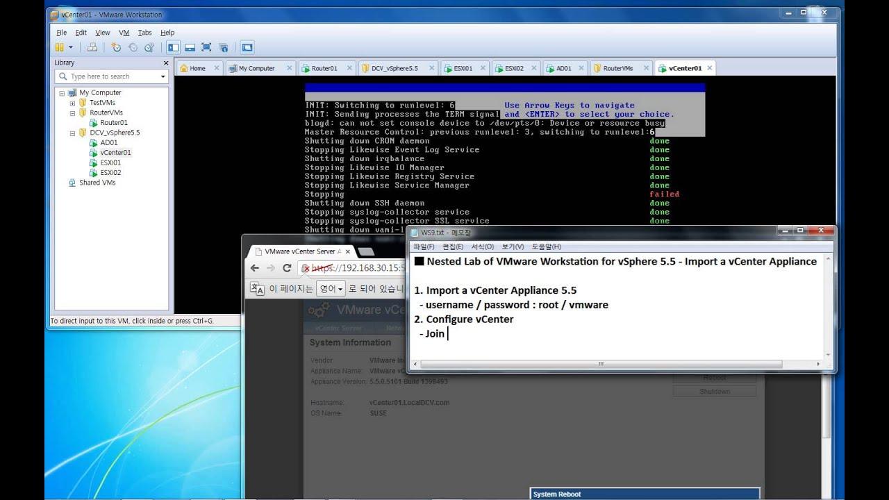 Nested Lab of VMware Workstation for vSphere 5 5 - Import a vCenter  Appliance