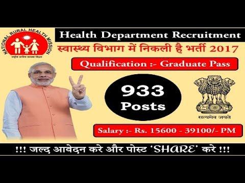 Health Department Recruitment 2017 – 933 vacancy