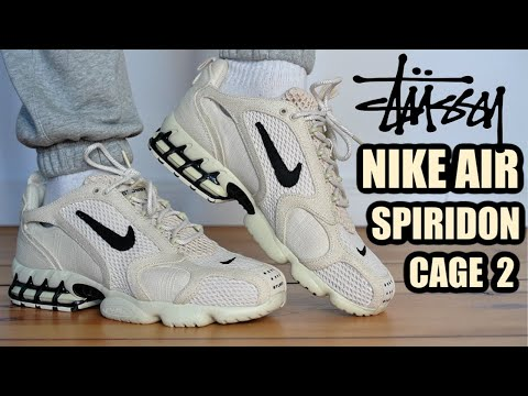 STUSSY NIKE AIR ZOOM SPIRIDON CAGE 2 FOSSIL REVIEW + ON FEET & SIZING + RESELL