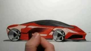 How to draw a Ferrari: Quick sketch (markers)