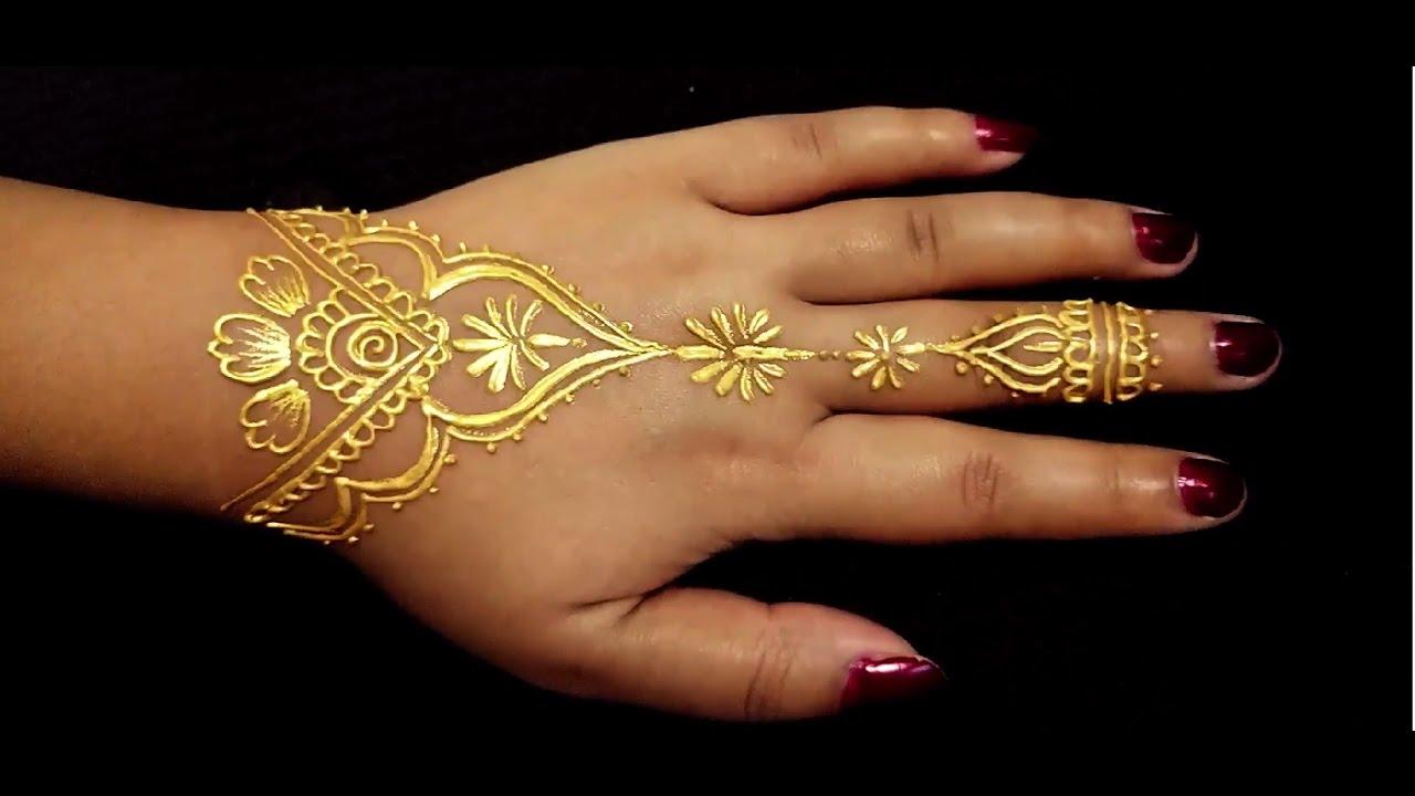 Golden Henna Tattoo #ArtsyCreativeVibe - YouTube
