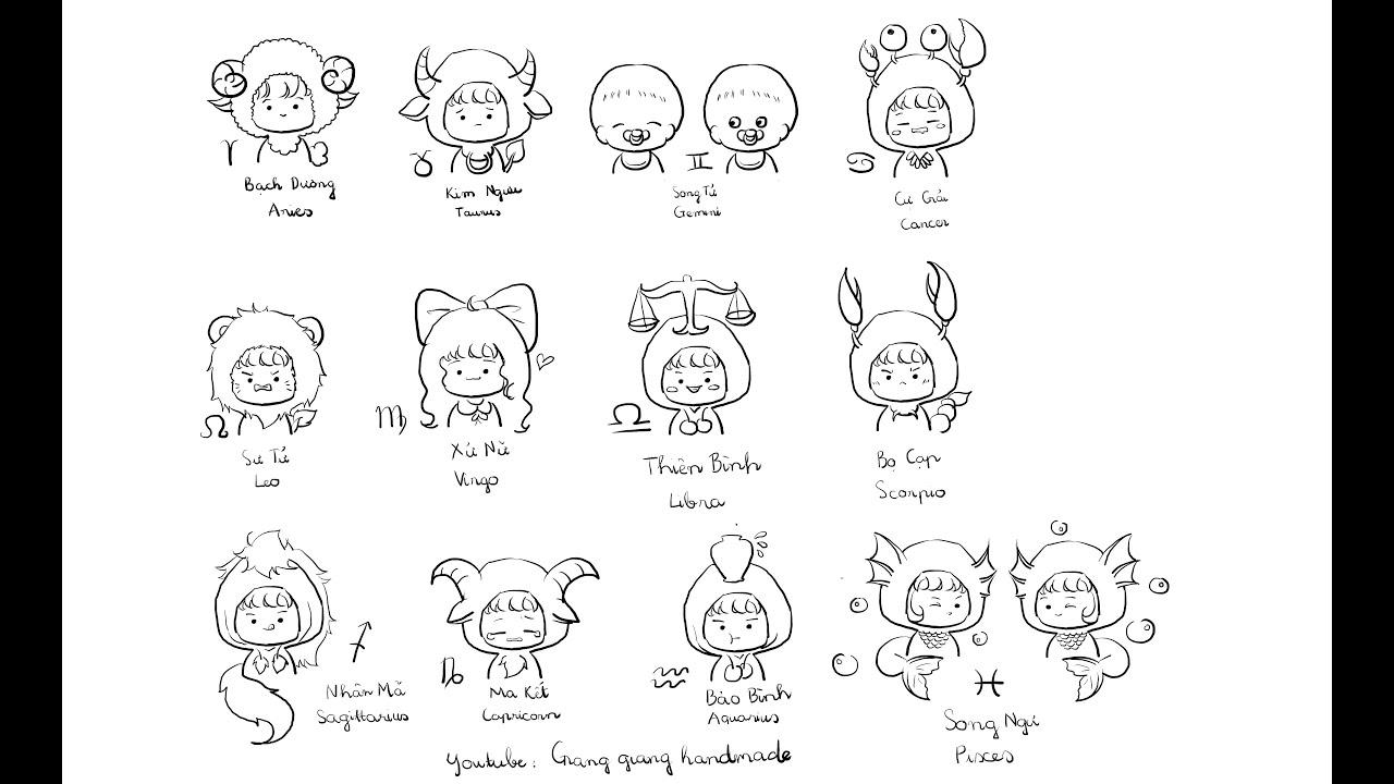 Drawing the chibi Zodiac signs ( Vẽ  chibi biểu tượng cung hoàng đạo)