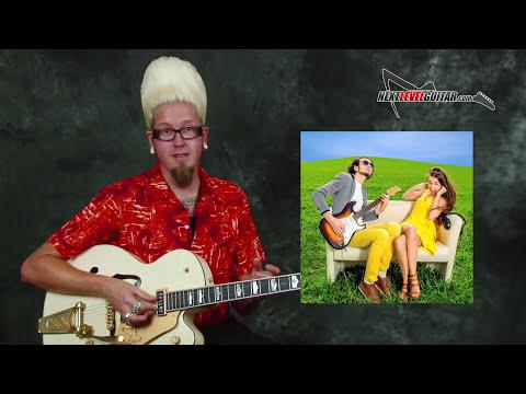 Learn beginner Surf guitar lesson build melody chords rhythms licks on Gretsch White Falcon