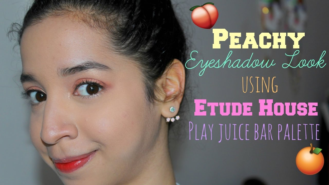 Summer Spring Coral Peach Makeup Look Using Etude House Play Color Eyes Cherry Blossom Juice Bar Palette