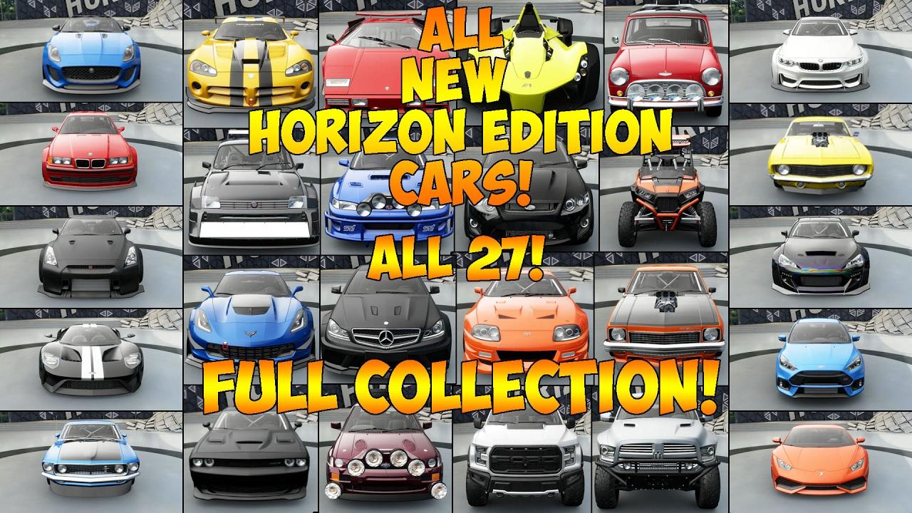 Forza Horizon  All Horizon Edition Cars