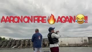 Tuckertown Dam at badin lake North Carolina white bass fishing on fire