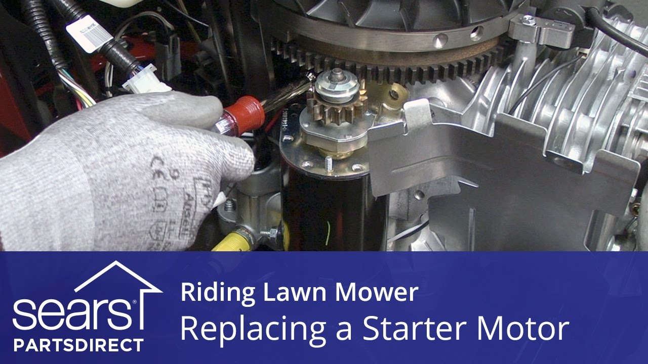 hight resolution of replacing a starter motor on a riding lawn mower