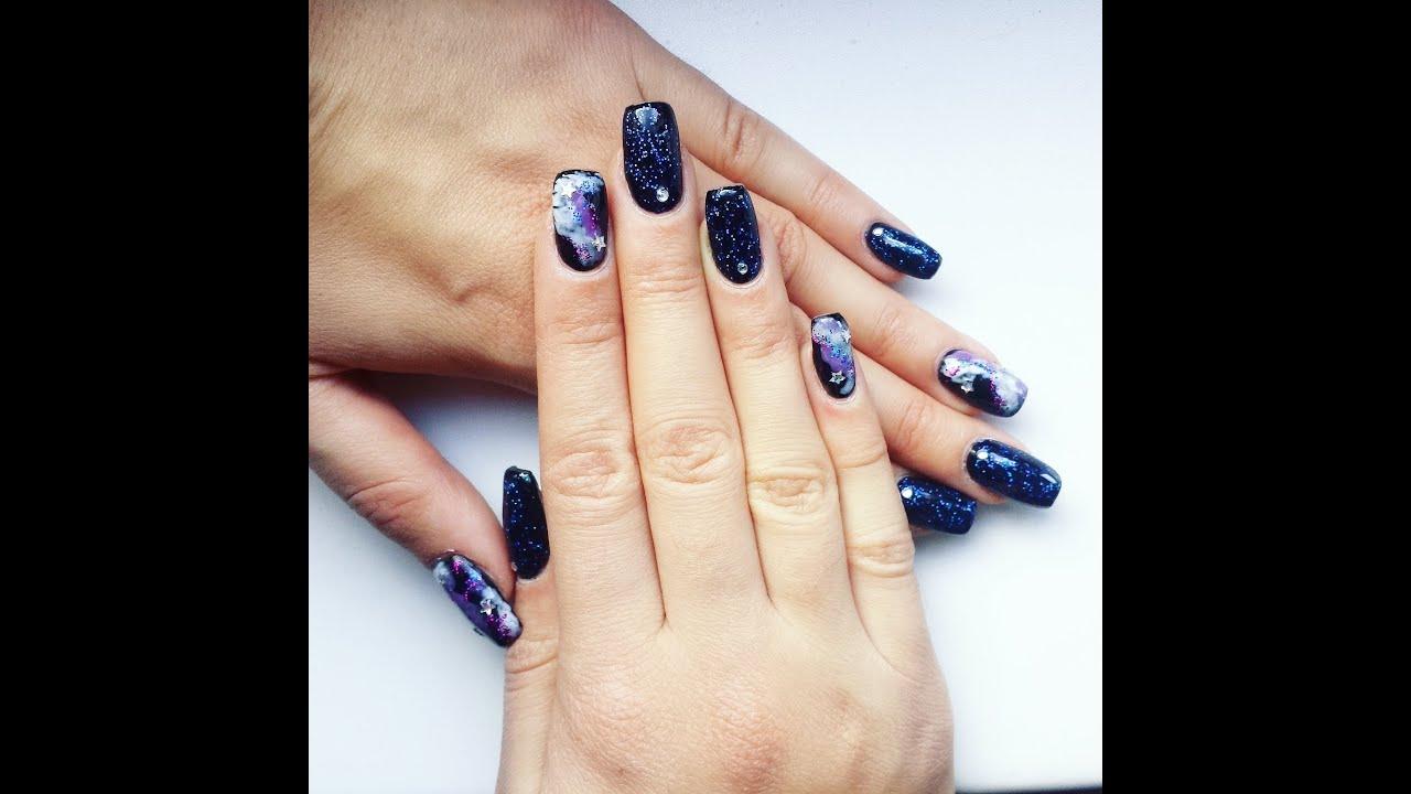 Galaxy Cosmic nail art design - YouTube